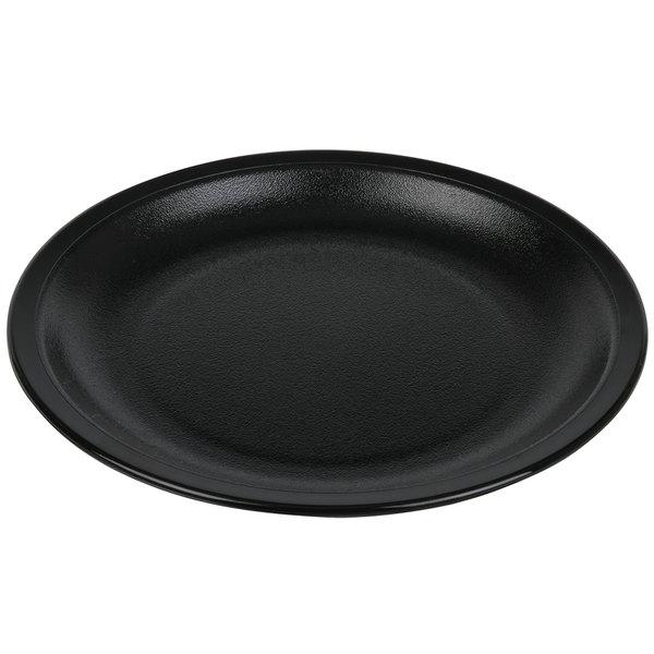 "Cambro 55CWNR110 Camwear 5 1/2"" Black Polycarbonate Narrow Rim Plate - 48/Case"