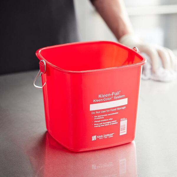 San Jamar KP196KCRD 6 Qt. Red Sanitizing Kleen-Color Pail Main Image 3