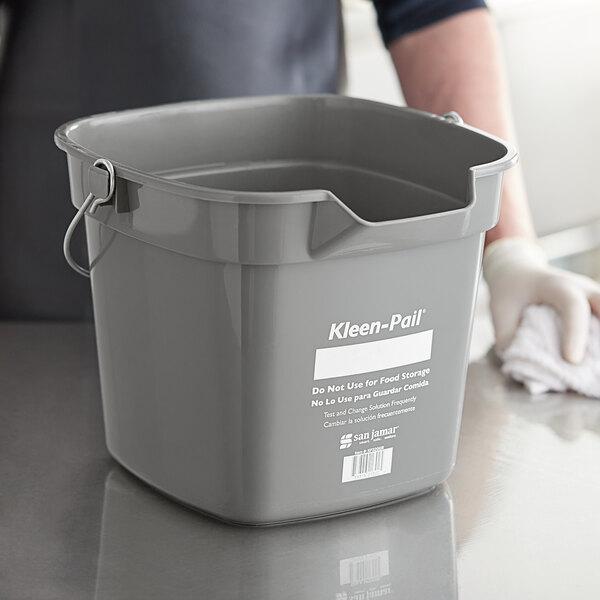 San Jamar KP320GR 10 Qt. Gray Cleaning Kleen-Color Pail Main Image 3