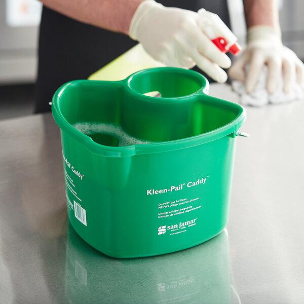 San Jamar KP550GN Green Kleen-Pail Cleaning Caddy Main Image 3