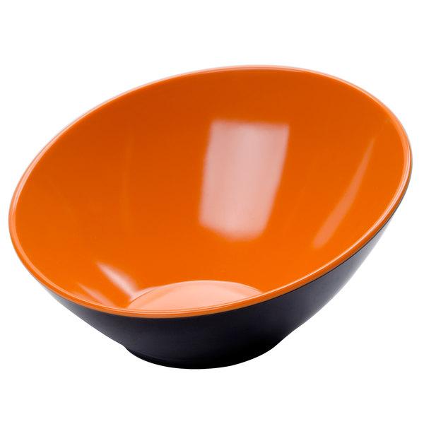 GET B-790-OR/BK Brasilia 1.9 Qt. Orange and Black Slanted Melamine Bowl - 6/Case