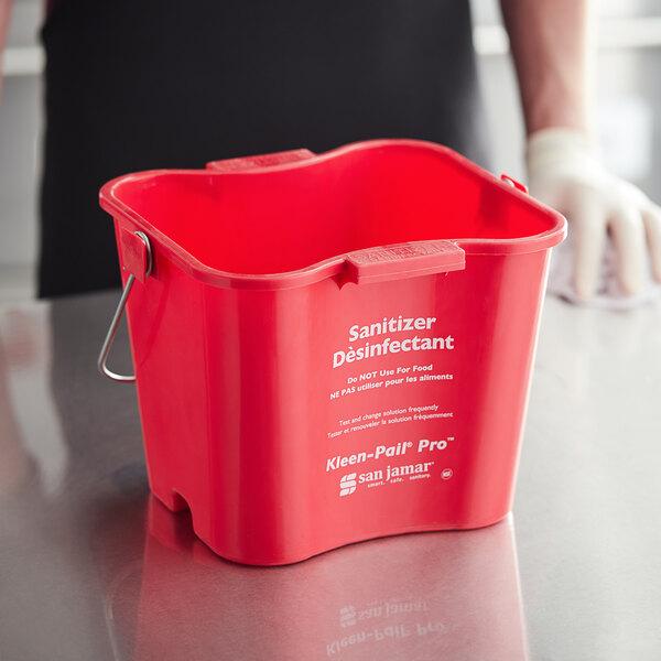 San Jamar KPP256RD 8 Qt. Red Sanitizing Kleen-Pail Pro Bucket Main Image 3