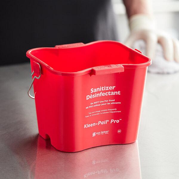 San Jamar KPP97RD 3 Qt. Red Sanitizing Kleen-Pail Pro Main Image 2