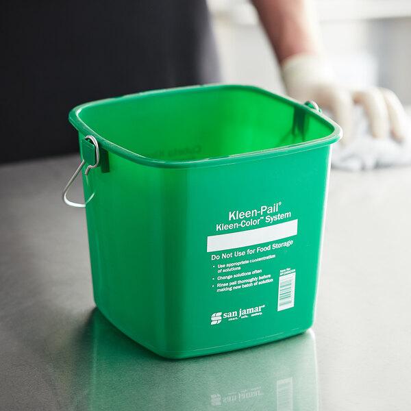 San Jamar KP196KCGN 6 Qt. Green Cleaning Kleen-Color Pail Main Image 3