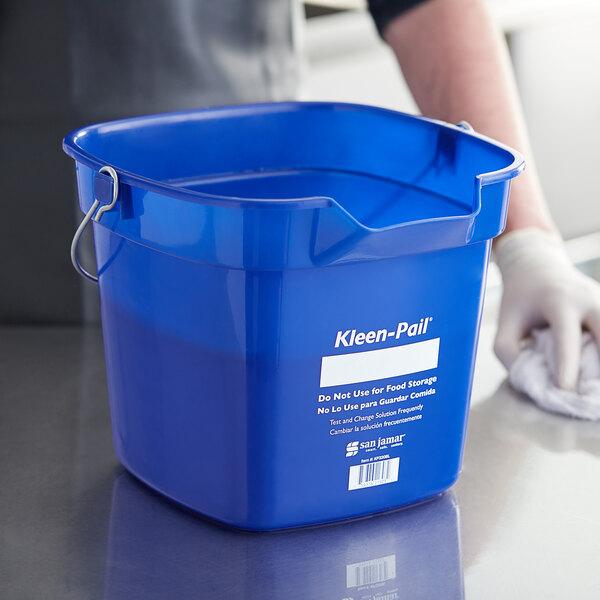 San Jamar KP320BL 10 Qt. Blue Cleaning Kleen-Color Pail Main Image 3