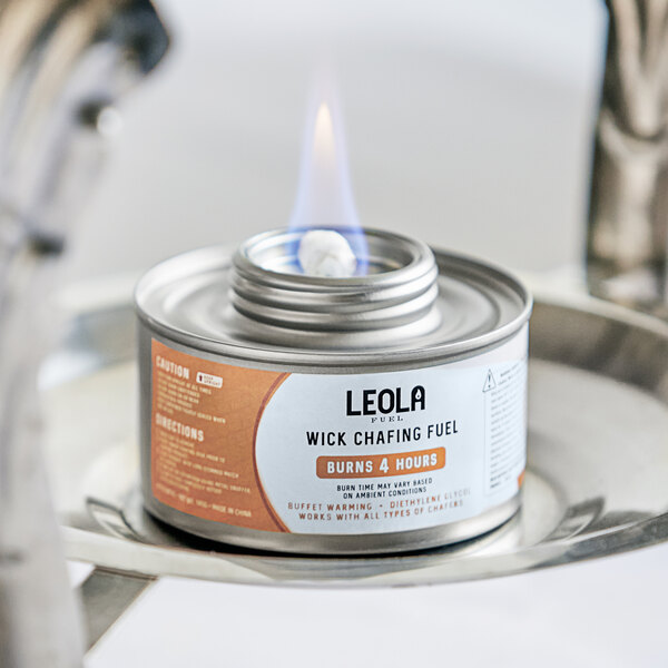 Leola Fuel Premium 4 Hour Wick Chafing Dish Fuel with Safety Twist Cap - 24/Case Main Image 3