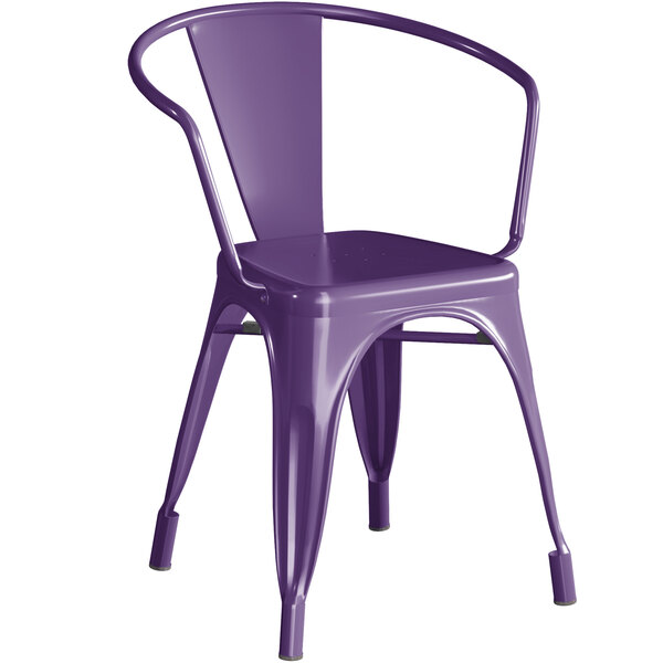 Lancaster Table & Seating Alloy Series Purple Metal Indoor / Outdoor Industrial Cafe Arm Chair Main Image 1