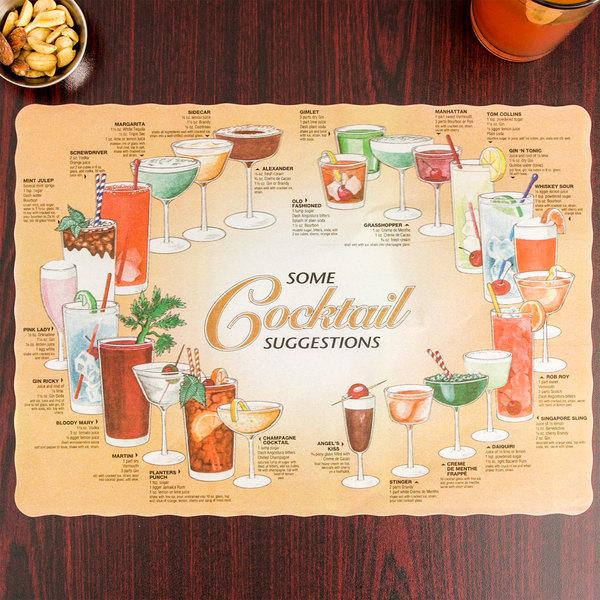 "10"" x 14"" Cocktail Suggestions Design Paper Placemat - 1000/Case"