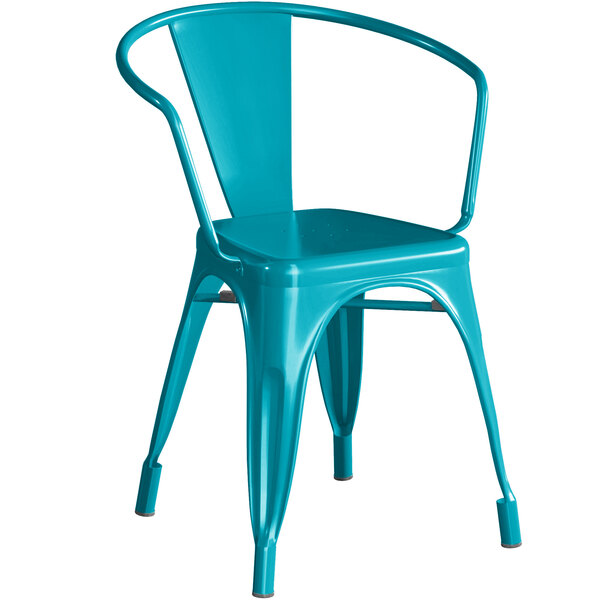 Lancaster Table & Seating Alloy Series Teal Metal Indoor / Outdoor Industrial Cafe Arm Chair Main Image 1