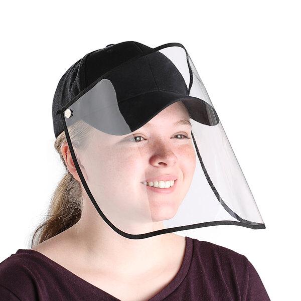 Choice Black 6-Panel Cap with Detachable PVC Face Shield Main Image 1