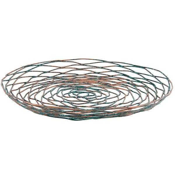 "Front of the House BPT029PTI22 Patina 12"" Hand-Painted Fused Iron Round Plate / Basket - 6/Case Main Image 1"