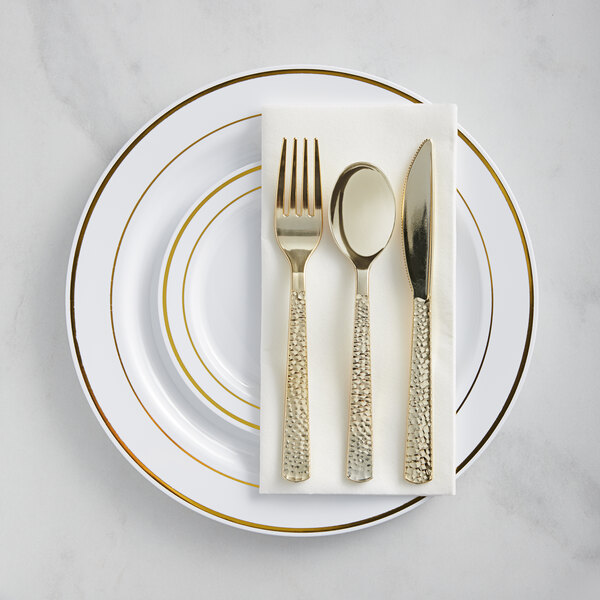 Gold Visions Gold Banded Hammered Plastic Dinnerware Set - 120/Pack Main Image 1