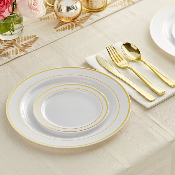 Gold Visions Gold Banded Classic Plastic Dinnerware Set - 120/Pack Main Image 2