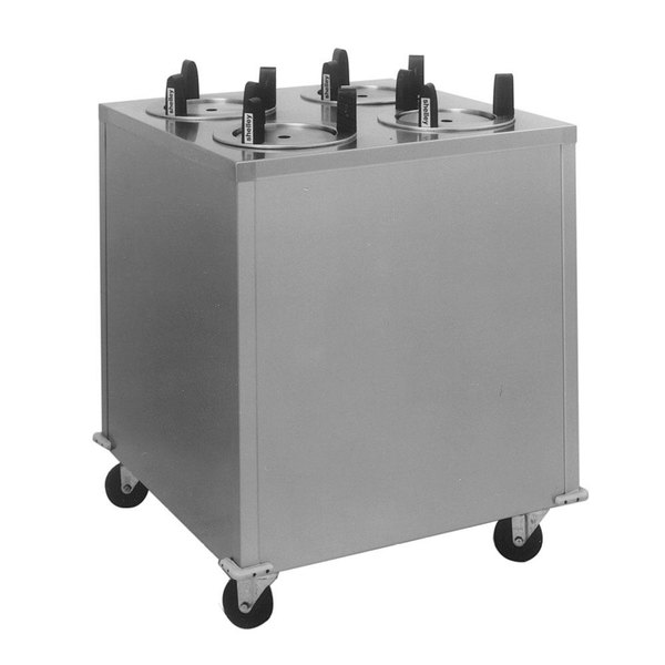 """Delfield CAB4-913ET Even Temp Mobile Enclosed Four Stack Heated Dish Dispenser / Warmer for 8 1/8"""" to 9 1/8"""" Dishes - 208V"""