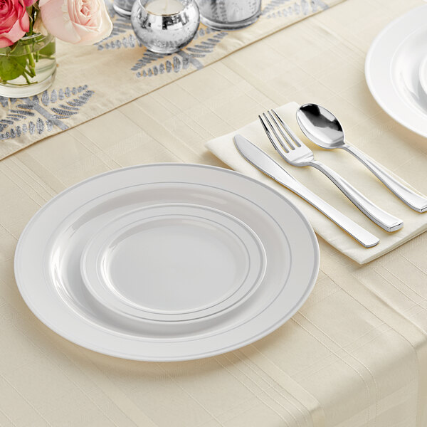Silver Visions Silver Banded Classic Plastic Dinnerware Set with 2 Plates - 120/Pack Main Image 2