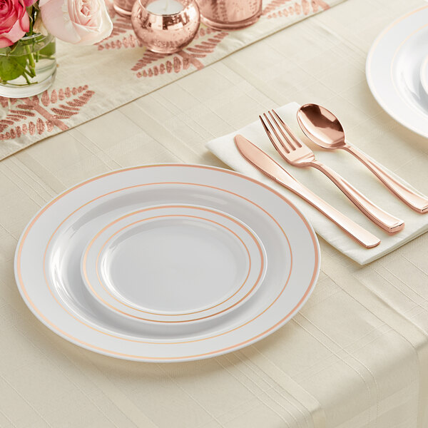 Gold Visions Rose Gold Banded Classic Plastic Dinnerware Set - 120/Pack Main Image 2