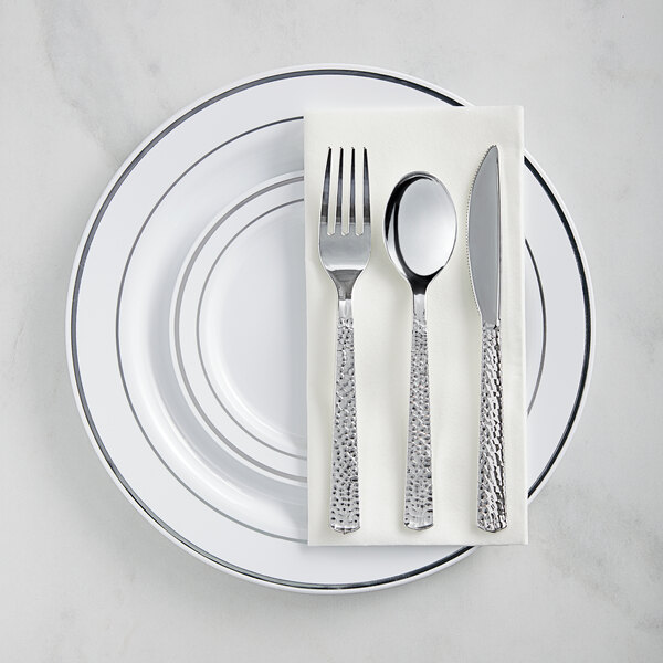 Silver Visions Silver Banded Hammered Plastic Dinnerware Set - 120/Pack Main Image 1
