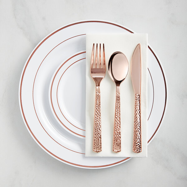Gold Visions Rose Gold Banded Hammered Plastic Dinnerware Set - 120/Pack Main Image 1