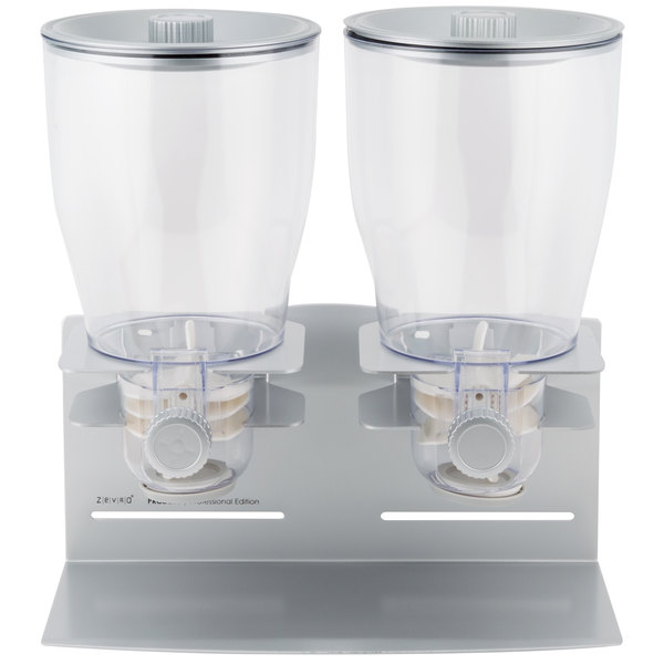 Zevro KCH-06149 Professional Silver Double Canister Dry Food Dispenser