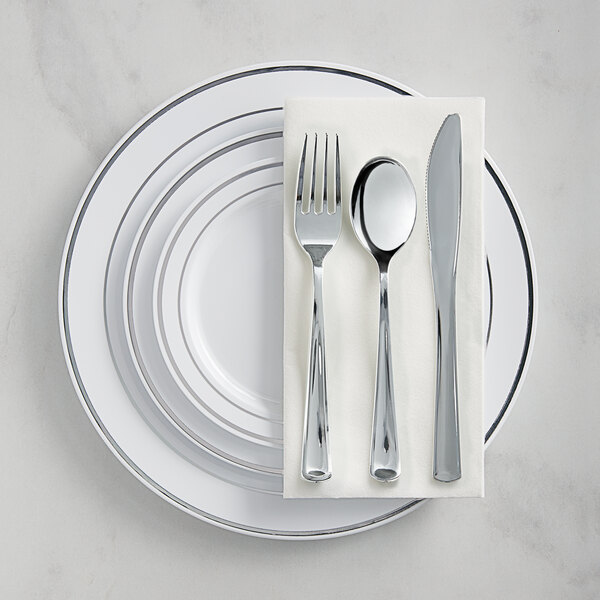Silver Visions Silver Banded Classic Plastic Dinnerware Set with 3 Plates - 120/Pack Main Image 1