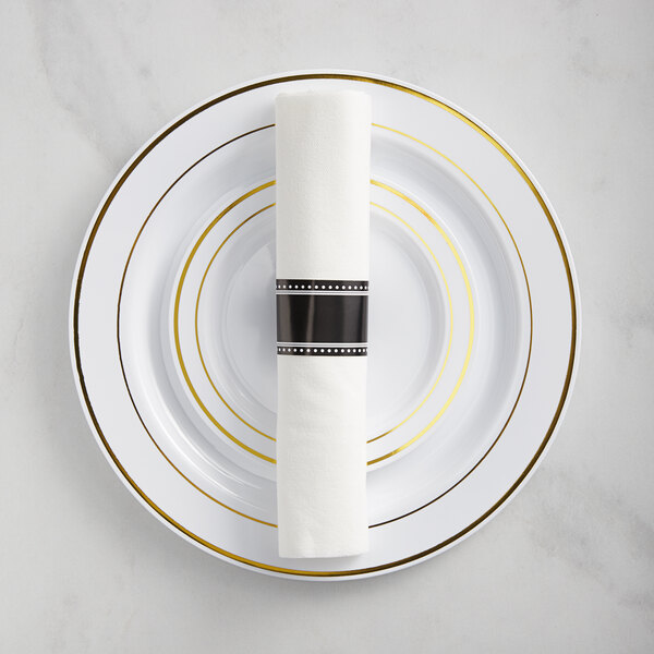 Gold Visions Gold Banded Classic Plastic Dinnerware Set with Rolled Flatware - 120/Pack Main Image 1