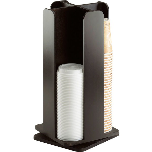 Cal-Mil 378-96 Midnight Bamboo 4-Section Revolving Cup and Lid Organizer Main Image 1