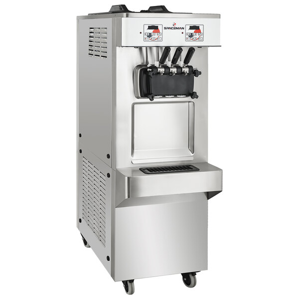 Spaceman 6378A-C Soft Serve Floor Model Ice Cream Machine with Pressurized Air Pump, 2 Hoppers, and 3 Dispensers - 208-230V, 1 Phase