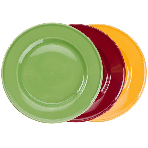 "Tuxton DYA-112 11 1/4"" Assorted Colors China Plate - 12/Case Main Image 1"