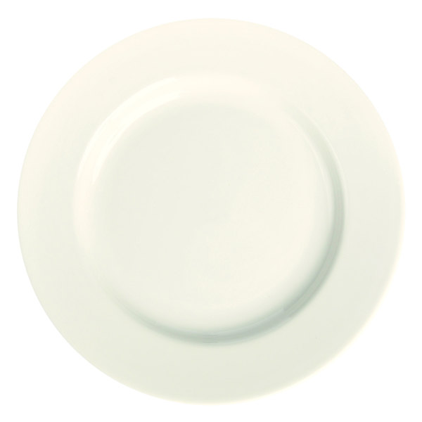 """Homer Laughlin 20200 6 5/8"""" Ivory (American White) Rolled Edge China Plate - 36/Case"""