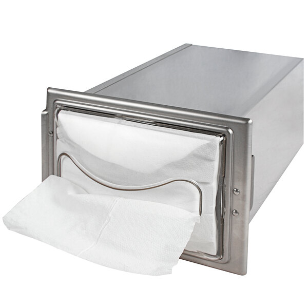 San Jamar H2003CLSS12 In-Counter Fullfold Stainless Steel Napkin Dispenser with Chrome Finish and Clear Face Main Image 1