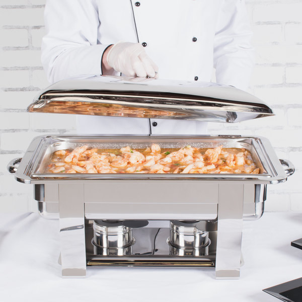 Vollrath 46518 9 Qt. Orion Lift-Off Rectangular Chafer Full Size Main Image 5