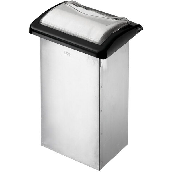San Jamar H2003CB12 In-Counter Fullfold Stainless Steel Napkin Dispenser with Black Finish and Clear Face Main Image 1