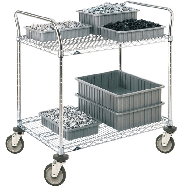 "Metro 2SPN55DC Super Erecta Chrome Two Shelf Heavy Duty Utility Cart with Polyurethane Casters - 24"" x 48"" x 39"""