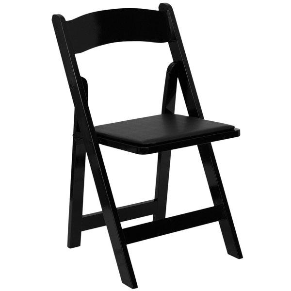 Flash Furniture XF-2902-BK-WOOD-GG Black Wood Folding Chair with Padded Seat Main Image 1