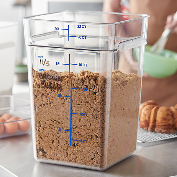 Carlisle 1195607 22 Qt. Clear Square Polycarbonate Food Storage Container with Blue Graduations Main Image 2