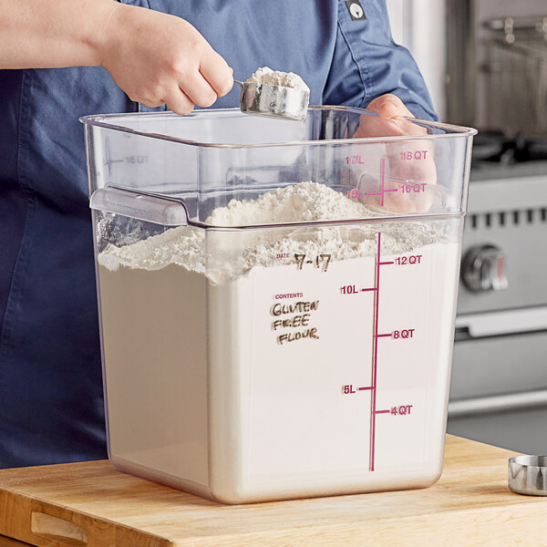 Carlisle 11955AF07 18 Qt. Allergen-Free Clear Square Polycarbonate Food Storage Container with Purple Graduations Main Image 2