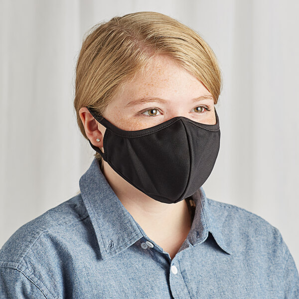 """Mercer Culinary M69018BK Customizable Black Reusable 2-Ply Polyester Anatomical Protective Face Mask - 9 1/2"""" x 6"""" Main Image 1"""