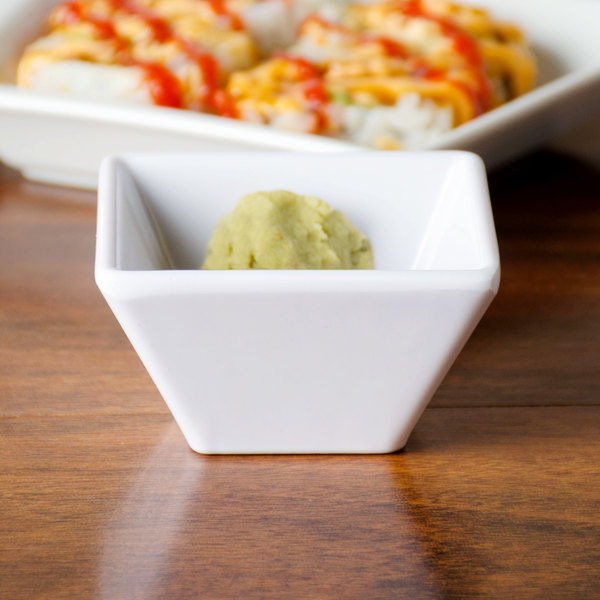 American Metalcraft MELSC20 2.4 oz. White Melamine Square Sauce Cup - 12/Pack