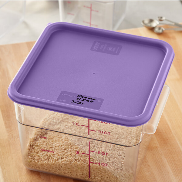 Carlisle 1197289 Purple Allergen-Free Polypropylene Lid for 12, 18, and 22 Qt. Square Containers Main Image 3