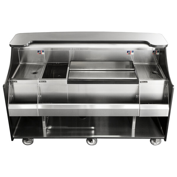 """Perlick MOBS-66TS 66"""" Stainless Steel Mobile Bar with Ice Chest - 120V Main Image 1"""