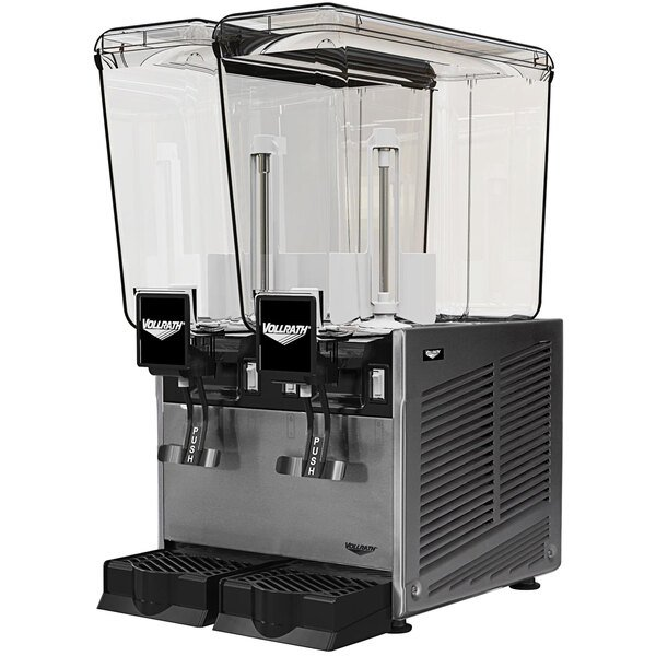 Vollrath VBBE2-37-S Double 5.28 Gallon Bowl Refrigerated Beverage Dispenser with Stirring Paddle Circulation - 115V Main Image 1