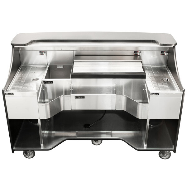 """Perlick MOBS-66TE Signature 66"""" Stainless Steel Mobile Bar with Ice Chest - 120V Main Image 1"""