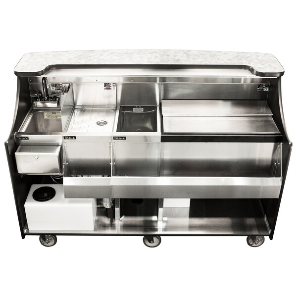 """Perlick MOBS-66TS-S 66"""" Stainless Steel Mobile Bar with Ice Chest and Sink - 120V Main Image 1"""