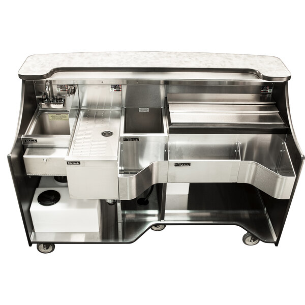 """Perlick MOBS-66TE-S Signature 66"""" Stainless Steel Mobile Bar with Ice Chest and Sink - 120V Main Image 1"""