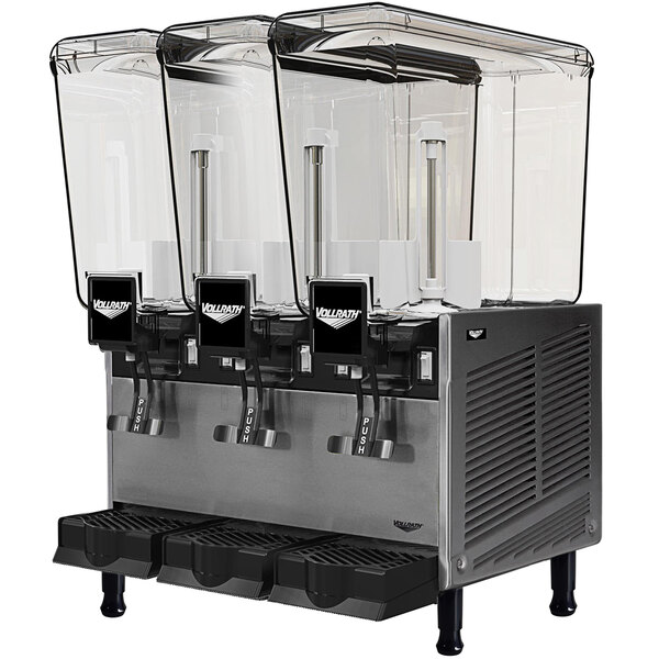 Vollrath VBBE3-37-S Triple 5.28 Gallon Bowl Refrigerated Beverage Dispenser with Stirring Paddle Circulation - 115V Main Image 1