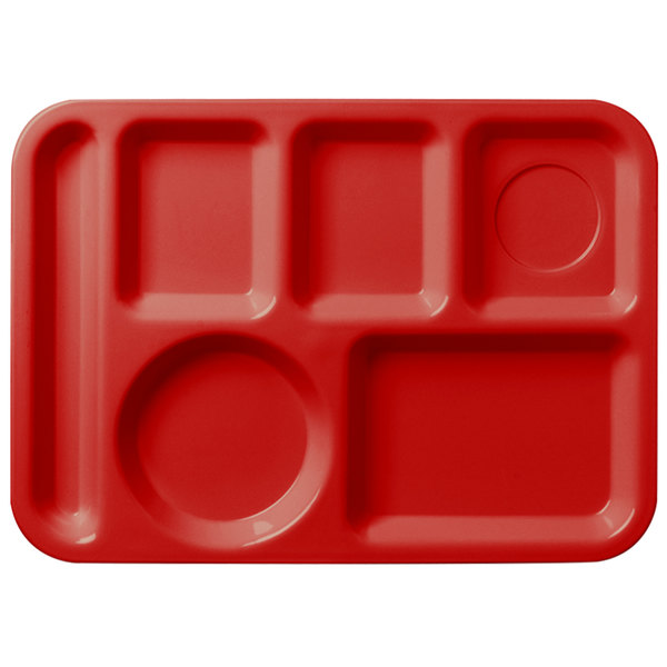 """Carlisle 61405 10"""" x 14"""" Red ABS Plastic Left Hand 6 Compartment Tray"""
