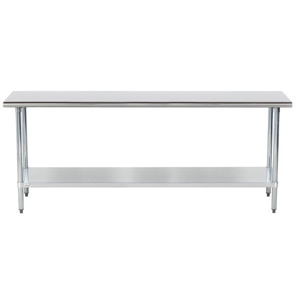 "Advance Tabco GLG-367 36"" x 84"" 14 Gauge Stainless Steel Work Table with Galvanized Undershelf"