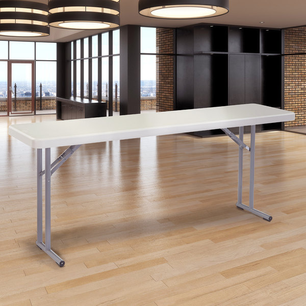"""National Public Seating BT1872 18"""" x 72"""" Speckled Gray Plastic Folding Seminar Table Main Image 4"""