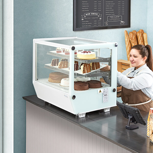 """Avantco BCS-28-HC 27 1/2"""" White Refrigerated Square Countertop Bakery Display Case with LED Lighting Main Image 6"""