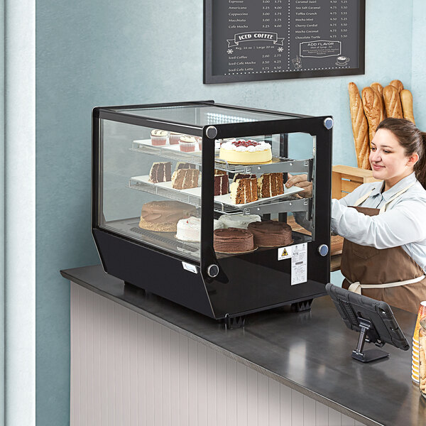 """Avantco BCS-28-HC 27 1/2"""" Black Refrigerated Square Countertop Bakery Display Case with LED Lighting Main Image 6"""